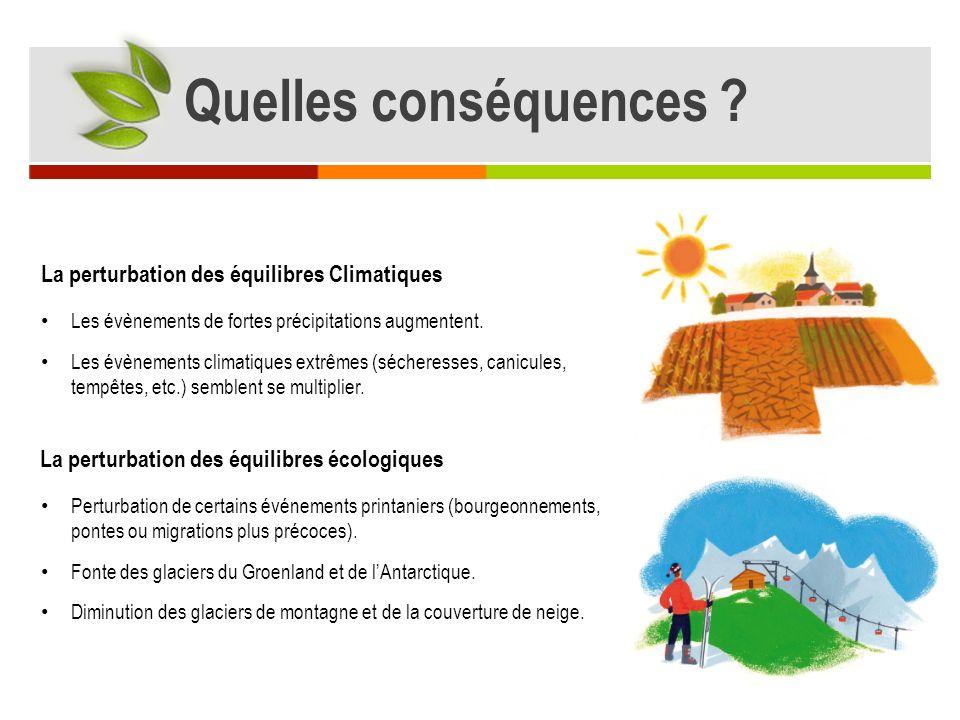La perturbation des équilibres Climatiques La perturbation des équilibres écologiques Les évènements de fortes précipitations augmentent.