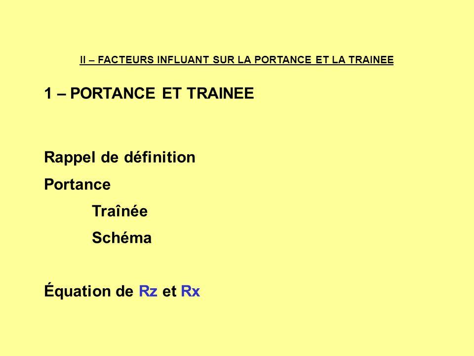 1 – PORTANCE ET TRAINEE Rappel de définition Portance Traînée Schéma Équation de Rz et Rx II – FACTEURS INFLUANT SUR LA PORTANCE ET LA TRAINEE