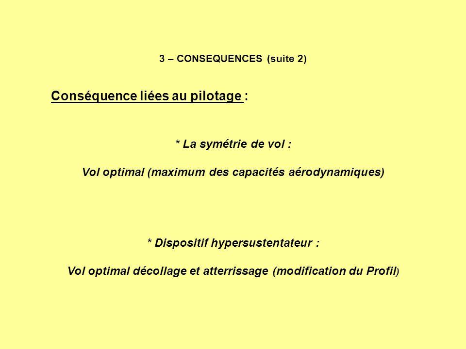 3 – CONSEQUENCES (suite 2) Conséquence liées au pilotage : * La symétrie de vol : Vol optimal (maximum des capacités aérodynamiques) * Dispositif hype