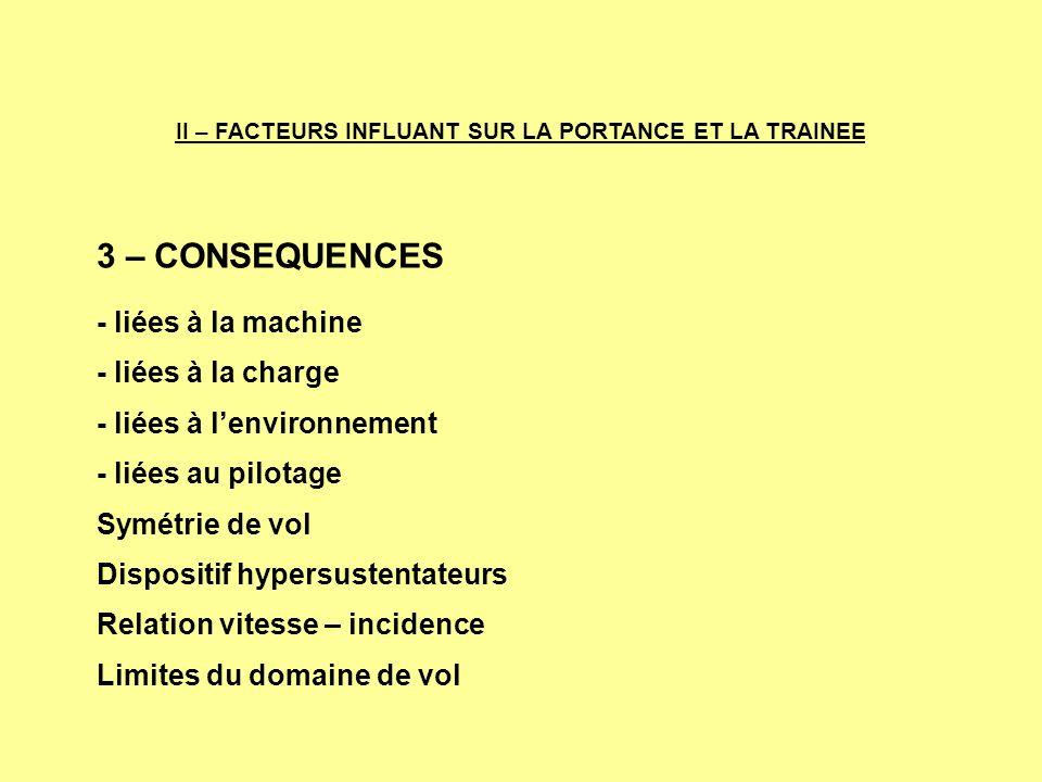 3 – CONSEQUENCES - liées à la machine - liées à la charge - liées à lenvironnement - liées au pilotage Symétrie de vol Dispositif hypersustentateurs R
