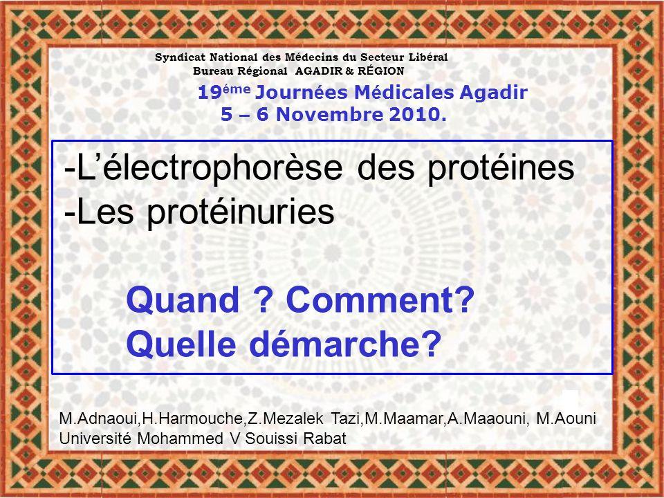 -Lélectrophorèse des protéines -Les protéinuries Quand ? Comment? Quelle démarche? Syndicat National des M é decins du Secteur Lib é ral Bureau R é gi
