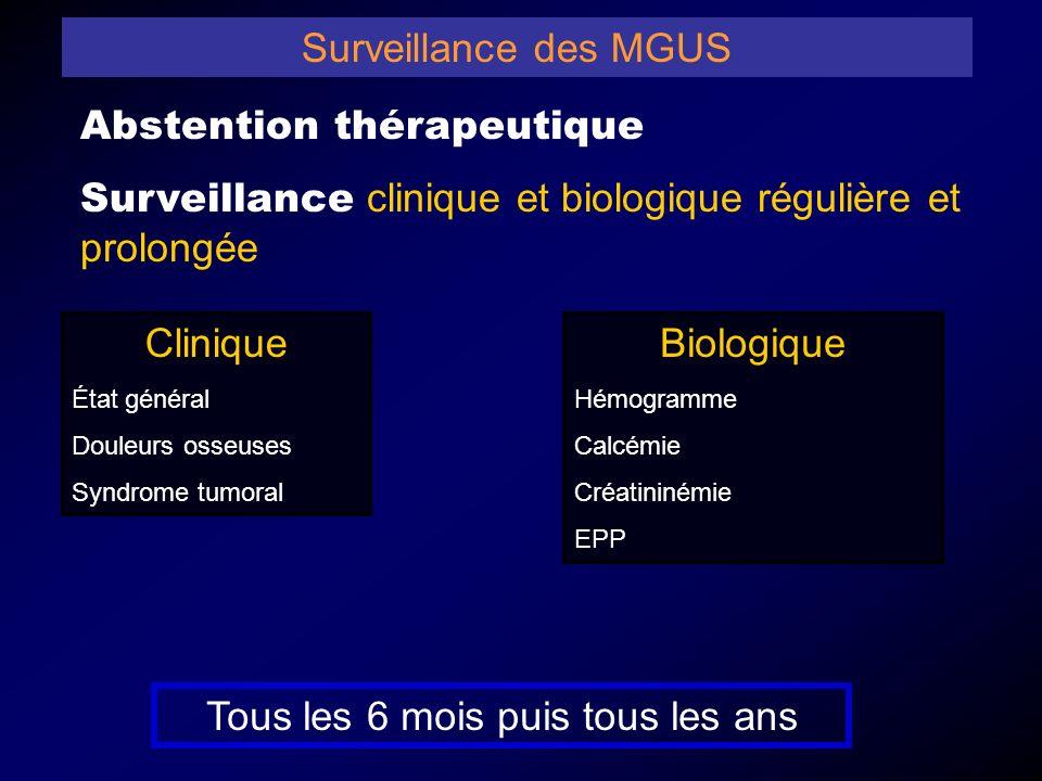 Surveillance des MGUS Abstention thérapeutique Surveillance clinique et biologique régulière et prolongée Biologique Hémogramme Calcémie Créatininémie EPP Clinique État général Douleurs osseuses Syndrome tumoral Tous les 6 mois puis tous les ans