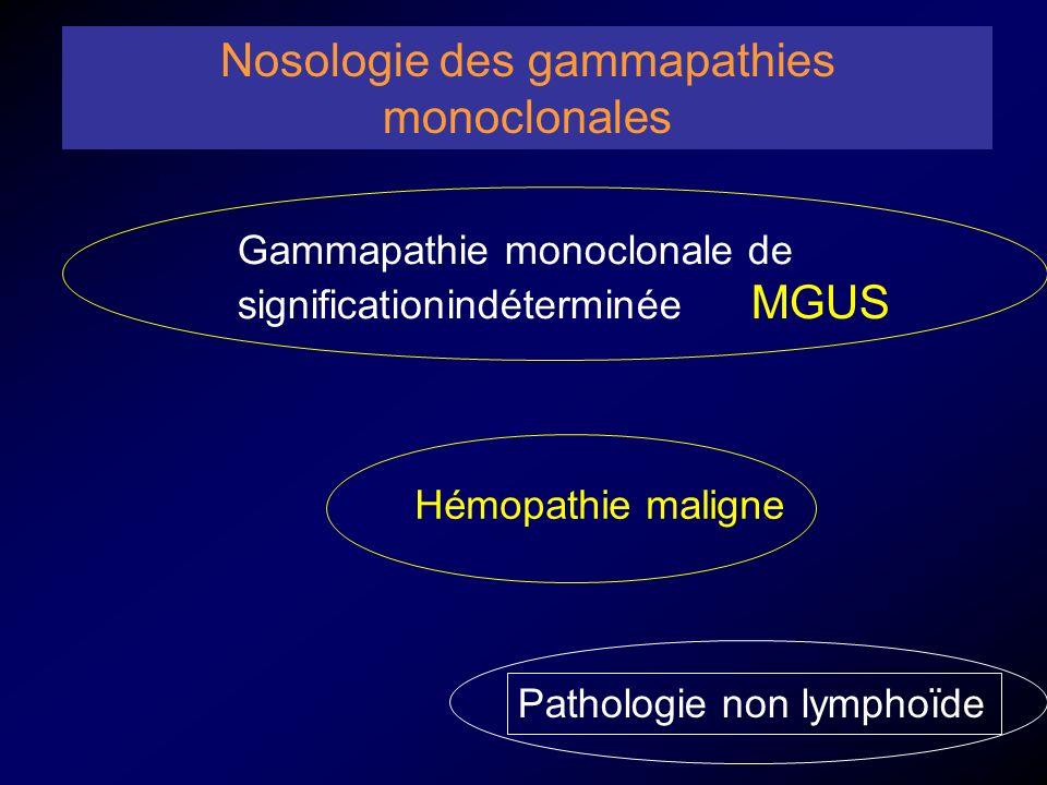 Hémopathie maligne Nosologie des gammapathies monoclonales Pathologie non lymphoïde Gammapathie monoclonale de significationindéterminée MGUS
