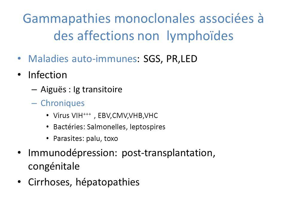 Gammapathies monoclonales associées à des affections non lymphoïdes Maladies auto-immunes: SGS, PR,LED Infection – Aiguës : Ig transitoire – Chroniques Virus VIH +++, EBV,CMV,VHB,VHC Bactéries: Salmonelles, leptospires Parasites: palu, toxo Immunodépression: post-transplantation, congénitale Cirrhoses, hépatopathies