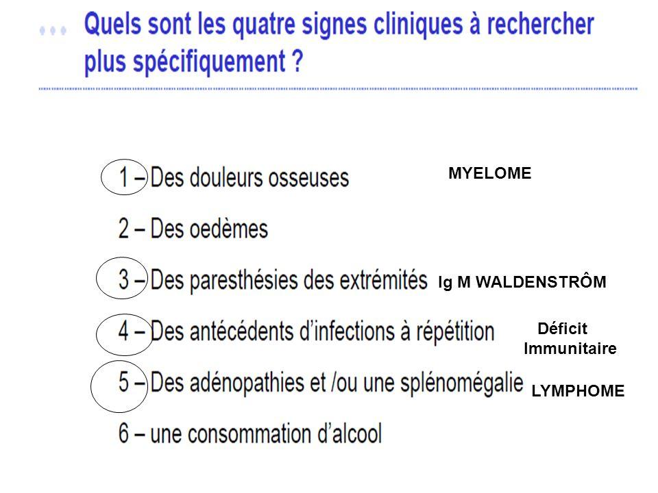MYELOME Ig M WALDENSTRÔM Déficit Immunitaire LYMPHOME