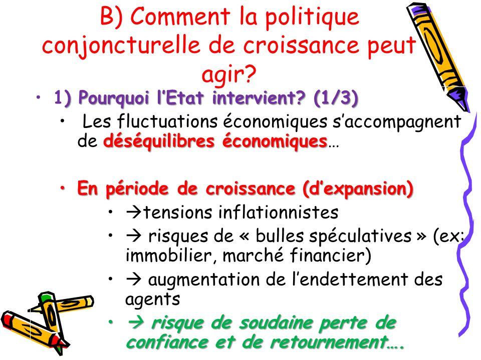) Pourquoi lEtat intervient? (1/3)1) Pourquoi lEtat intervient? (1/3) déséquilibres économiques Les fluctuations économiques saccompagnent de déséquil