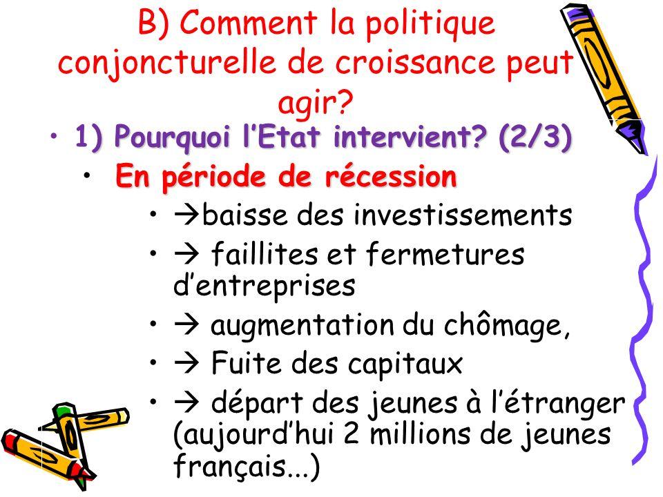 ) Pourquoi lEtat intervient? (2/3)1) Pourquoi lEtat intervient? (2/3) En période de récession baisse des investissements faillites et fermetures dentr
