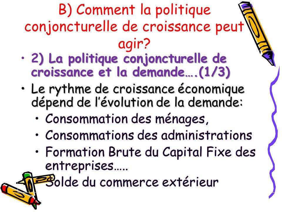 B) Comment la politique conjoncturelle de croissance peut agir?