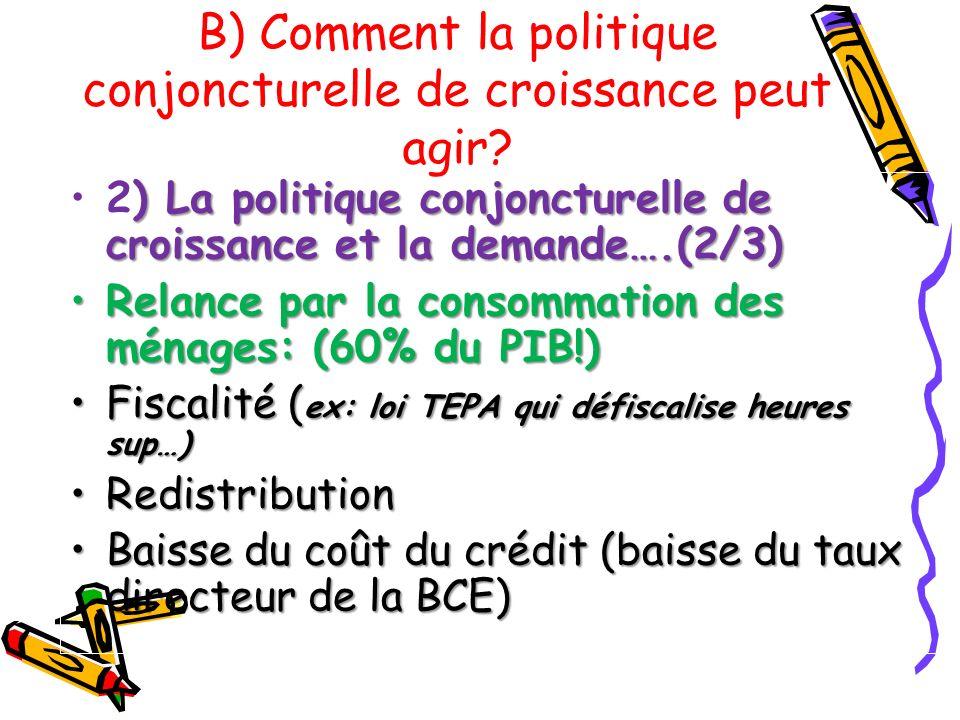 ) La politique conjoncturelle de croissance et la demande….(2/3)2) La politique conjoncturelle de croissance et la demande….(2/3) Relance par la conso