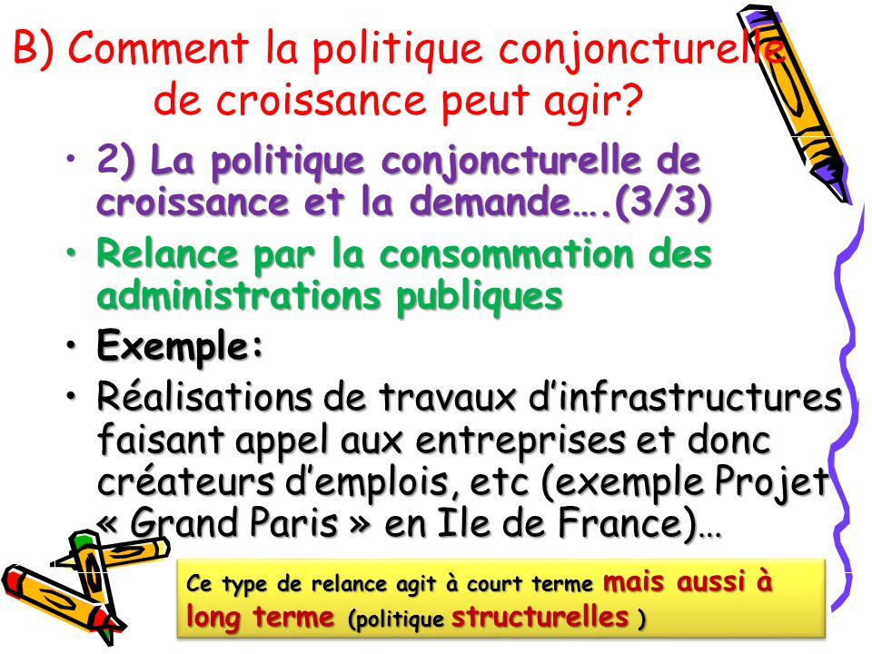 ) La politique conjoncturelle de croissance et la demande….(3/3)2) La politique conjoncturelle de croissance et la demande….(3/3) Relance par la conso