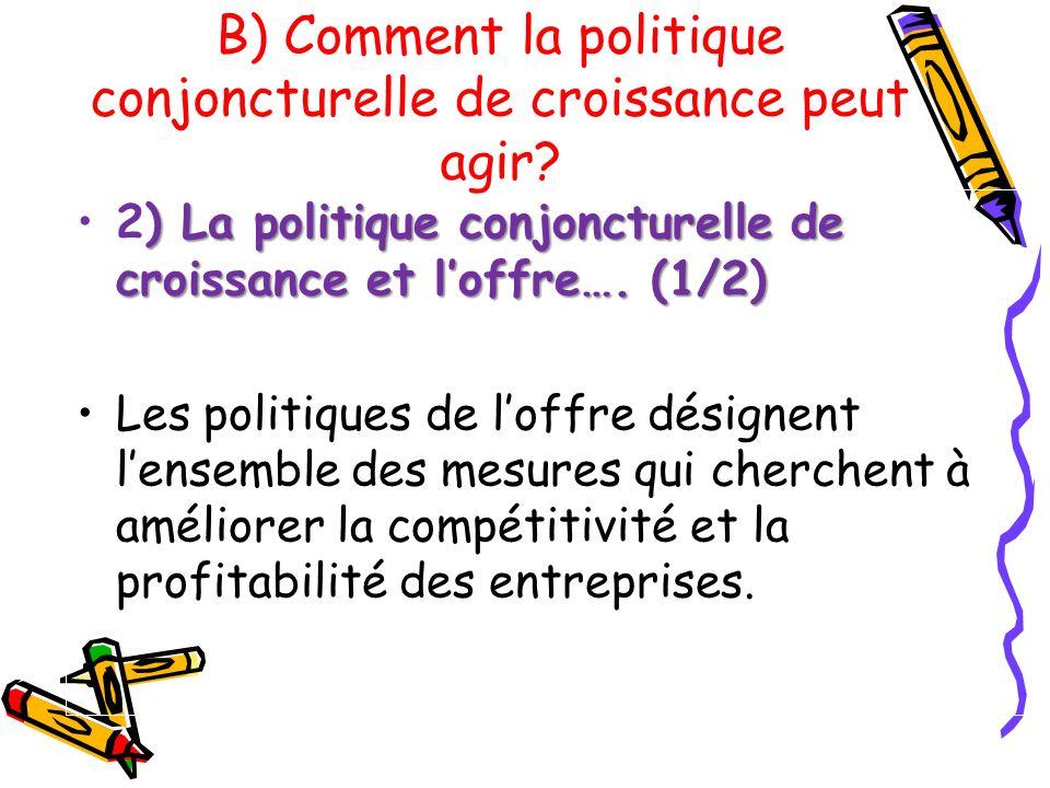 ) La politique conjoncturelle de croissance et loffre…. (1/2)2) La politique conjoncturelle de croissance et loffre…. (1/2) Les politiques de loffre d