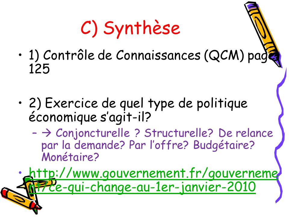 C) Synthèse 1) Contrôle de Connaissances (QCM) page 125 2) Exercice de quel type de politique économique sagit-il? – Conjoncturelle ? Structurelle? De