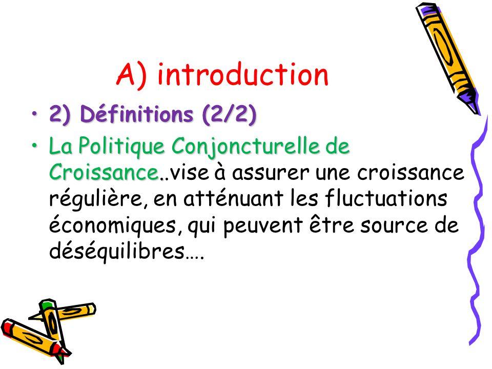 A) introduction 2) Définitions (2/2)2) Définitions (2/2) La Politique Conjoncturelle de Croissance.La Politique Conjoncturelle de Croissance..vise à a