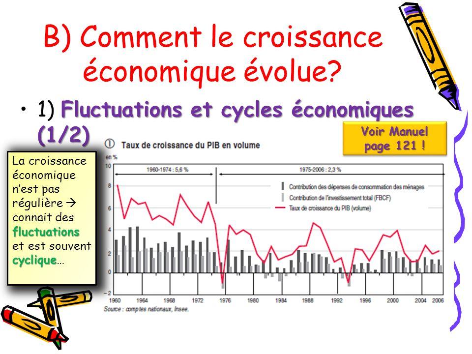 Fluctuations et cycles économiques (1/2)1) Fluctuations et cycles économiques (1/2) B) Comment le croissance économique évolue? Voir Manuel page 121 !