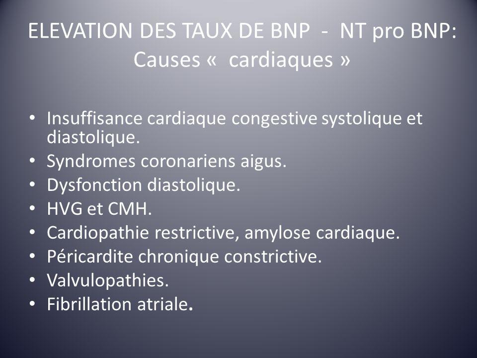 ELEVATION DES TAUX DE BNP - NT pro BNP: Causes « cardiaques » Insuffisance cardiaque congestive systolique et diastolique. Syndromes coronariens aigus