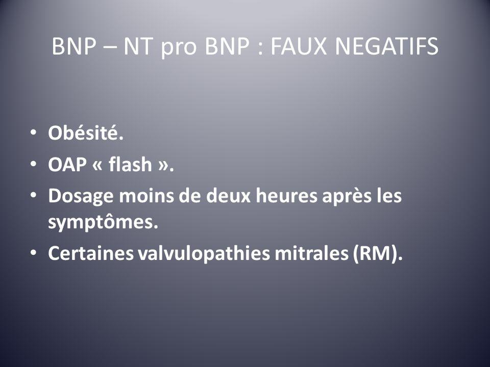 BNP – NT pro BNP : FAUX NEGATIFS Obésité. OAP « flash ». Dosage moins de deux heures après les symptômes. Certaines valvulopathies mitrales (RM).
