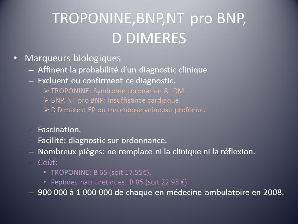 TROPONINE,BNP,NT pro BNP, D DIMERES Marqueurs biologiques – Affinent la probabilité dun diagnostic clinique – Excluent ou confirment ce diagnostic. TR
