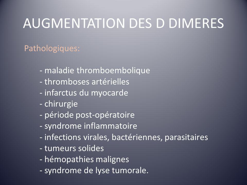 AUGMENTATION DES D DIMERES Pathologiques: - maladie thromboembolique - thromboses artérielles - infarctus du myocarde - chirurgie - période post-opéra