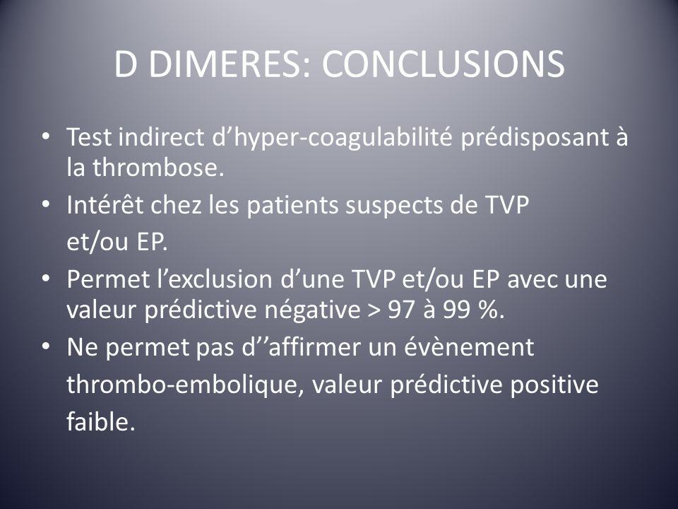 D DIMERES: CONCLUSIONS Test indirect dhyper-coagulabilité prédisposant à la thrombose. Intérêt chez les patients suspects de TVP et/ou EP. Permet lexc