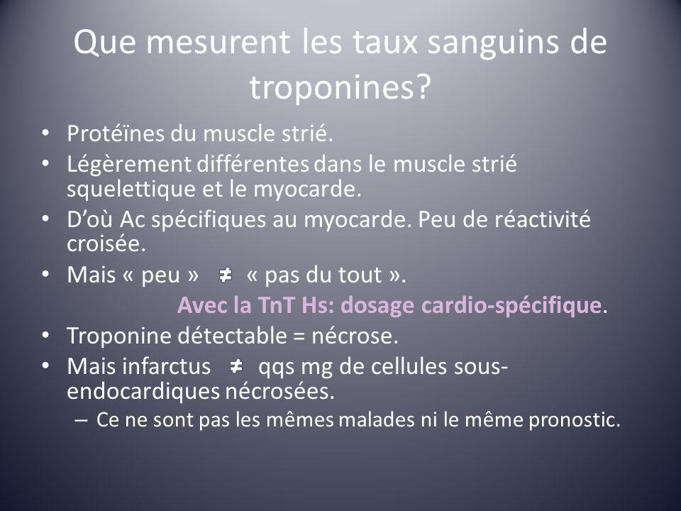 Que mesurent les taux sanguins de troponines? Protéïnes du muscle strié. Légèrement différentes dans le muscle strié squelettique et le myocarde. Doù