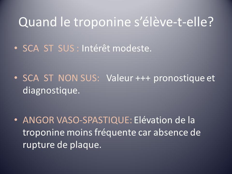 Quand le troponine sélève-t-elle? SCA ST SUS : Intérêt modeste. SCA ST NON SUS: Valeur +++ pronostique et diagnostique. ANGOR VASO-SPASTIQUE: Elévatio