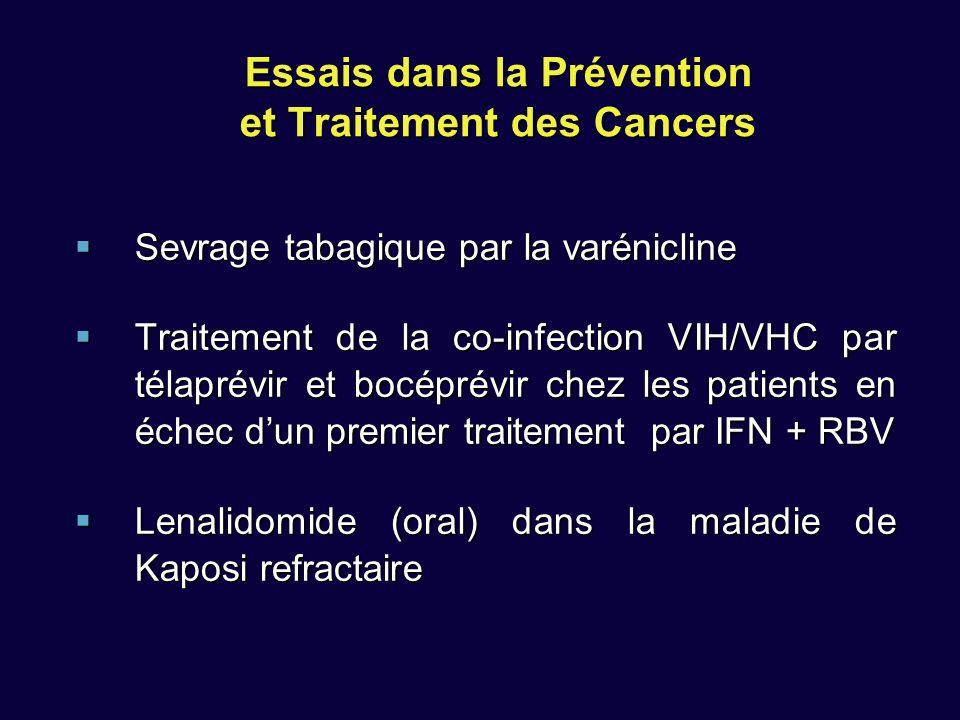 Essais dans la Prévention et Traitement des Cancers Sevrage tabagique par la varénicline Sevrage tabagique par la varénicline Traitement de la co-infection VIH/VHC par télaprévir et bocéprévir chez les patients en échec dun premier traitement par IFN + RBV Traitement de la co-infection VIH/VHC par télaprévir et bocéprévir chez les patients en échec dun premier traitement par IFN + RBV Lenalidomide (oral) dans la maladie de Kaposi refractaire Lenalidomide (oral) dans la maladie de Kaposi refractaire