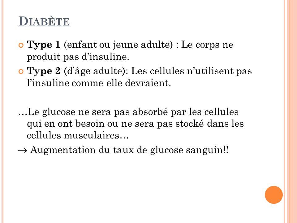 D IABÈTE Type 1 (enfant ou jeune adulte) : Le corps ne produit pas dinsuline. Type 2 (dâge adulte): Les cellules nutilisent pas linsuline comme elle d