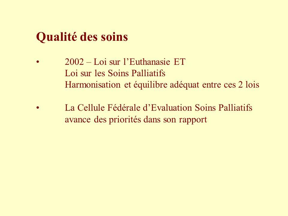 Qualité des soins 2002 – Loi sur lEuthanasie ET Loi sur les Soins Palliatifs Harmonisation et équilibre adéquat entre ces 2 lois La Cellule Fédérale d