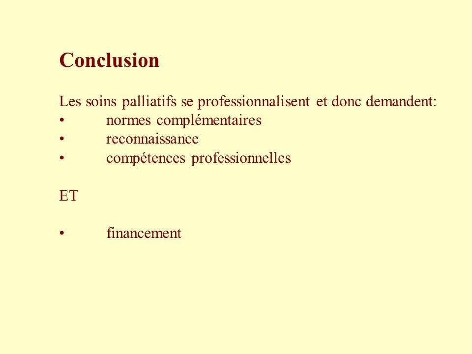 Conclusion Les soins palliatifs se professionnalisent et donc demandent: normes complémentaires reconnaissance compétences professionnelles ET finance