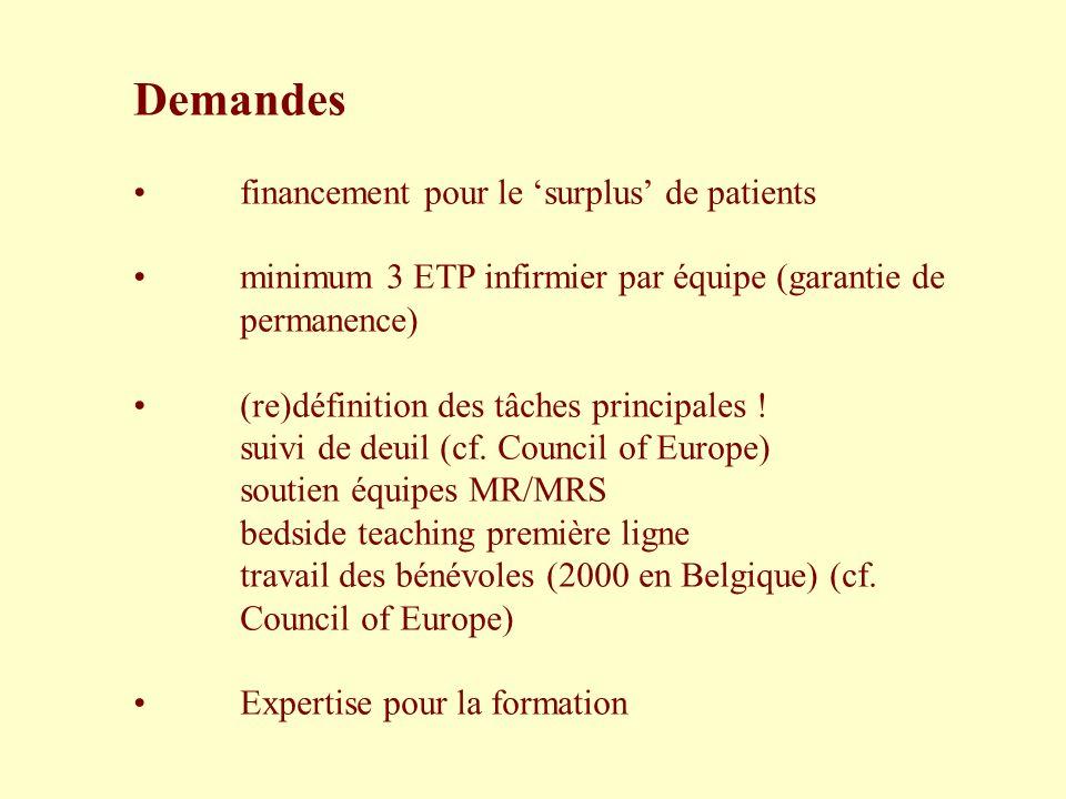Demandes financement pour le surplus de patients minimum 3 ETP infirmier par équipe (garantie de permanence) (re)définition des tâches principales ! s