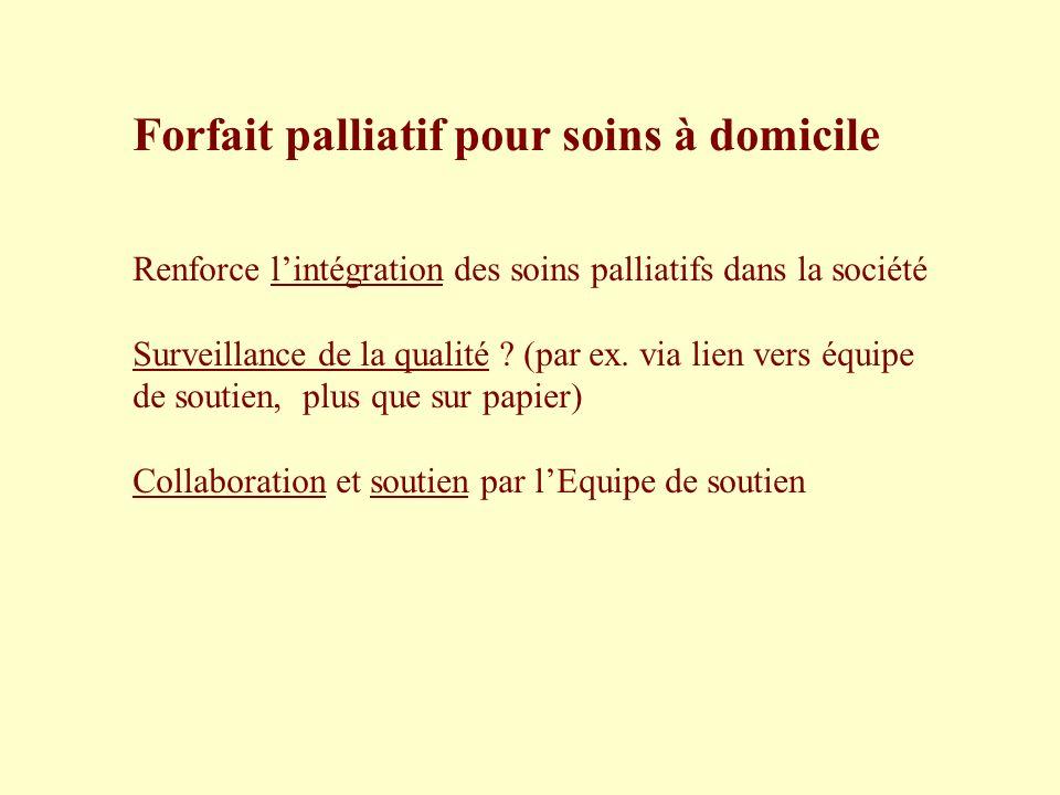 Forfait palliatif pour soins à domicile Renforce lintégration des soins palliatifs dans la société Surveillance de la qualité ? (par ex. via lien vers