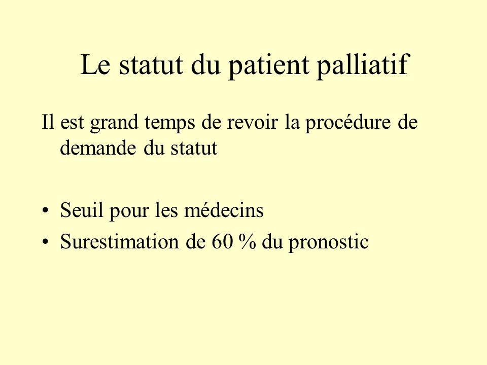Le statut du patient palliatif Il est grand temps de revoir la procédure de demande du statut Seuil pour les médecins Surestimation de 60 % du pronost