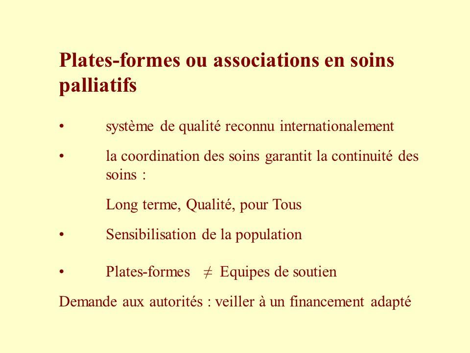 Plates-formes ou associations en soins palliatifs système de qualité reconnu internationalement la coordination des soins garantit la continuité des s