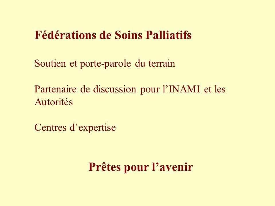 Fédérations de Soins Palliatifs Soutien et porte-parole du terrain Partenaire de discussion pour lINAMI et les Autorités Centres dexpertise Prêtes pou