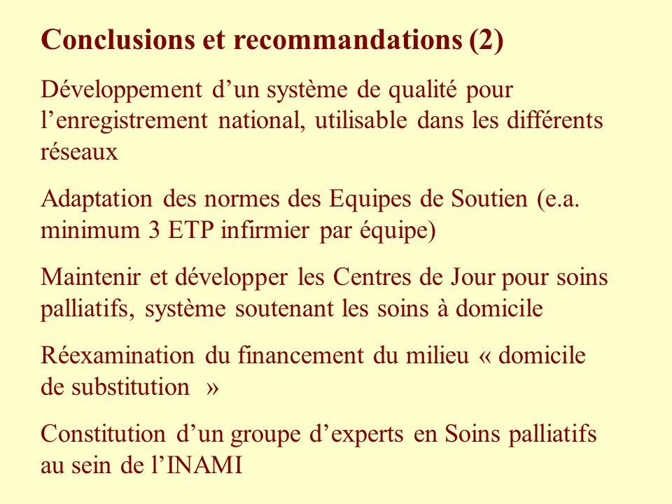 Conclusions et recommandations (2) Développement dun système de qualité pour lenregistrement national, utilisable dans les différents réseaux Adaptati