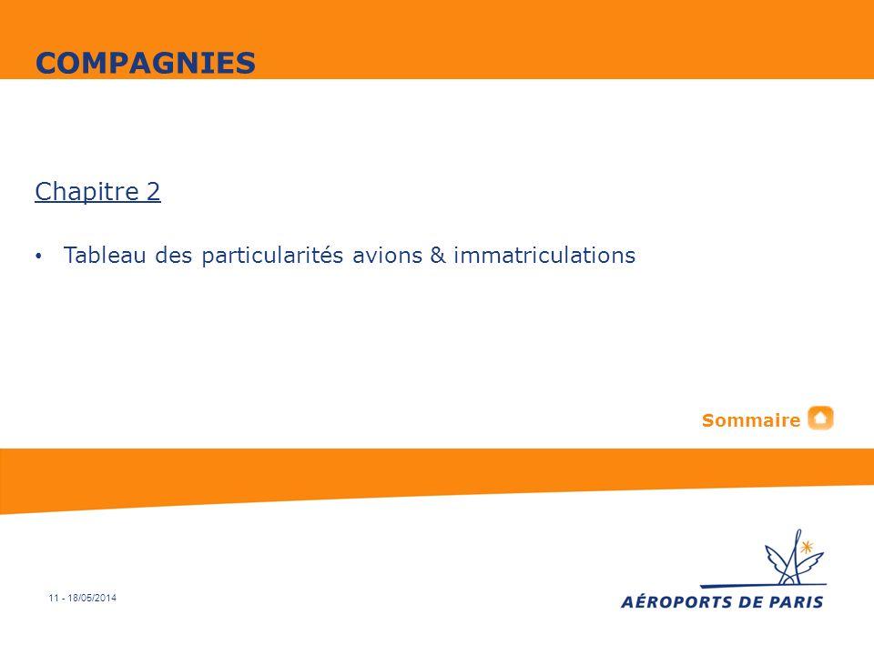 11 - 18/05/2014 Chapitre 2 Tableau des particularités avions & immatriculations COMPAGNIES Sommaire