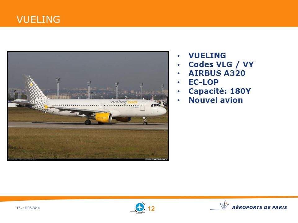 17 - 18/05/2014 VUELING Codes VLG / VY AIRBUS A320 EC-LOP Capacité: 180Y Nouvel avion 12