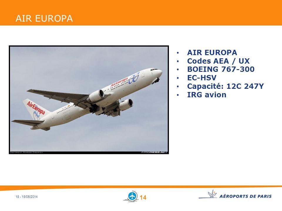 18 - 18/05/2014 AIR EUROPA Codes AEA / UX BOEING 767-300 EC-HSV Capacité: 12C 247Y IRG avion 14
