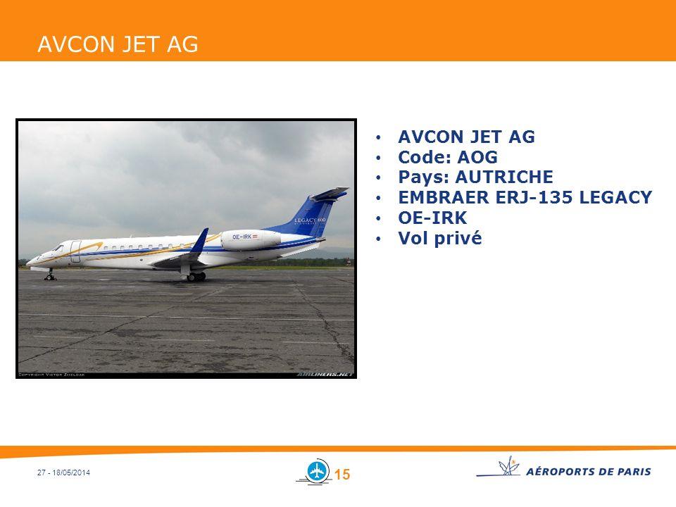 27 - 18/05/2014 AVCON JET AG Code: AOG Pays: AUTRICHE EMBRAER ERJ-135 LEGACY OE-IRK Vol privé 15