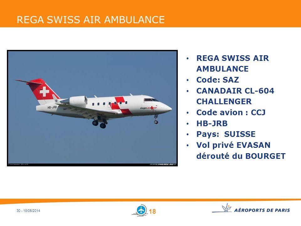 30 - 18/05/2014 REGA SWISS AIR AMBULANCE Code: SAZ CANADAIR CL-604 CHALLENGER Code avion : CCJ HB-JRB Pays: SUISSE Vol privé EVASAN dérouté du BOURGET
