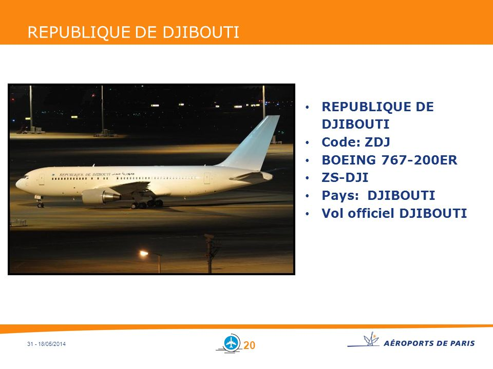 31 - 18/05/2014 REPUBLIQUE DE DJIBOUTI Code: ZDJ BOEING 767-200ER ZS-DJI Pays: DJIBOUTI Vol officiel DJIBOUTI 20
