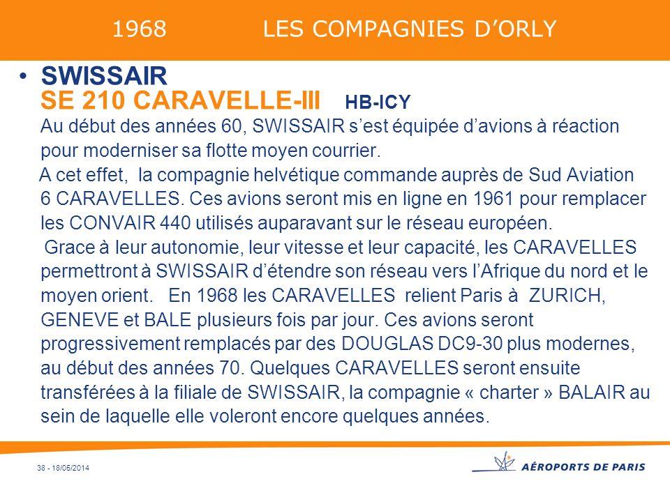 38 - 18/05/2014 1968 LES COMPAGNIES DORLY SWISSAIR SE 210 CARAVELLE-III HB-ICY Au début des années 60, SWISSAIR sest équipée davions à réaction pour m