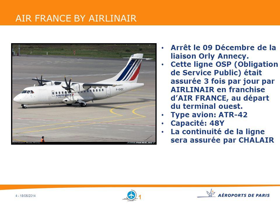 4 - 18/05/2014 AIR FRANCE BY AIRLINAIR Arrêt le 09 Décembre de la liaison Orly Annecy. Cette ligne OSP (Obligation de Service Public) était assurée 3