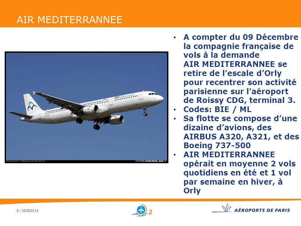 5 - 18/05/2014 AIR MEDITERRANNEE A compter du 09 Décembre la compagnie française de vols à la demande AIR MEDITERRANNEE se retire de lescale dOrly pou