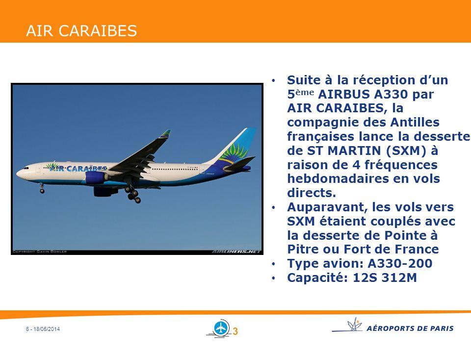 6 - 18/05/2014 AIR CARAIBES Suite à la réception dun 5 ème AIRBUS A330 par AIR CARAIBES, la compagnie des Antilles françaises lance la desserte de ST