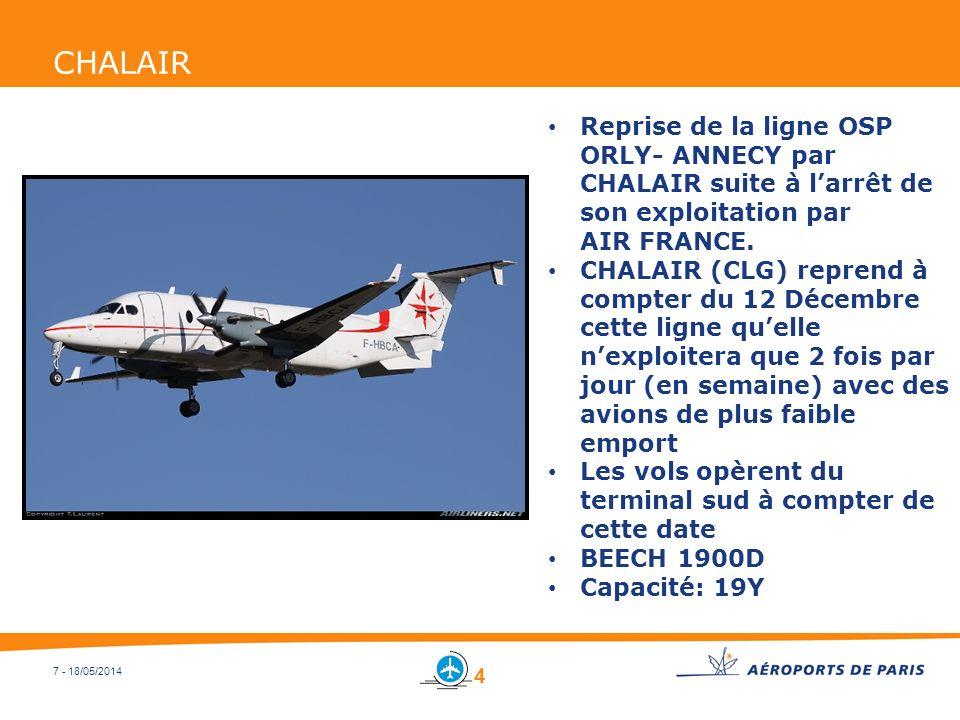 7 - 18/05/2014 CHALAIR Reprise de la ligne OSP ORLY- ANNECY par CHALAIR suite à larrêt de son exploitation par AIR FRANCE. CHALAIR (CLG) reprend à com