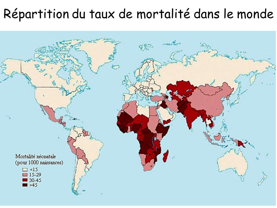 Répartition du taux de mortalité dans le monde
