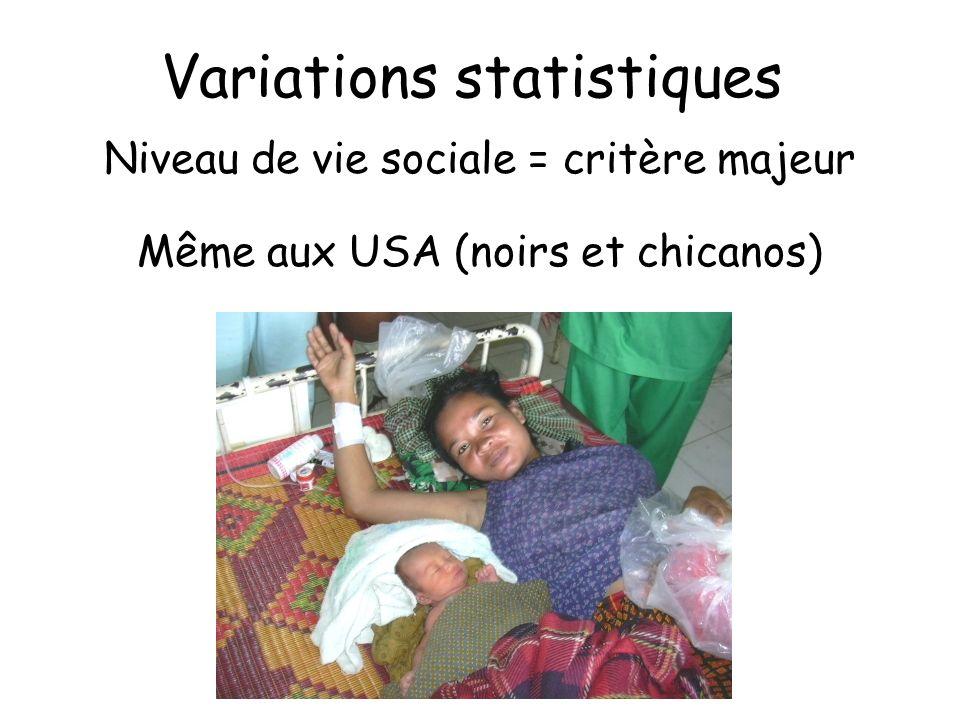Variations statistiques Niveau de vie sociale = critère majeur Même aux USA (noirs et chicanos)