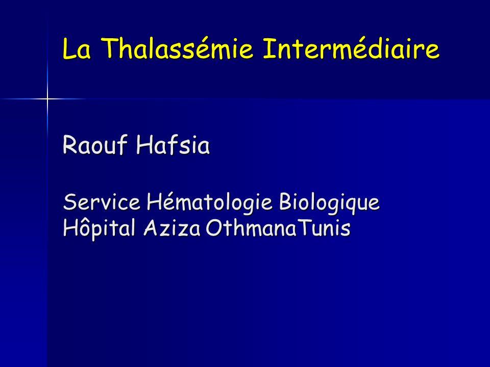 Complications fréquentes Thrombophilie +++ Après splénectomie Tahar A (Blood 2004) Tahar A (Blood 2004) 2190 TI 4% 2190 TI 4% 6670 TM 0.9% 6670 TM 0.9% TVP 40 % Portale AVC 9 % Embolie 12 % Capellini (haematol 2000) Capellini (haematol 2000) 30% événements thromboemboliques 30% événements thromboemboliques