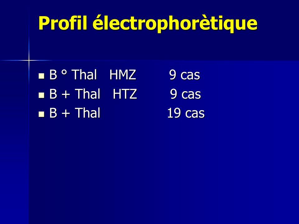 Profil électrophorètique B ° Thal HMZ 9 cas B ° Thal HMZ 9 cas B + Thal HTZ 9 cas B + Thal HTZ 9 cas B + Thal 19 cas B + Thal 19 cas